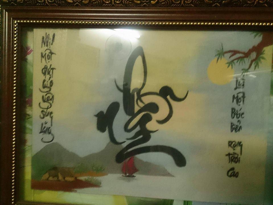 Tranh cát chữ thư pháp - nghệ thuật vẽ tranh cát ở Việt Nam