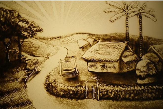 Bức tranh cát bình dị về cảnh làng quê Việt Nam