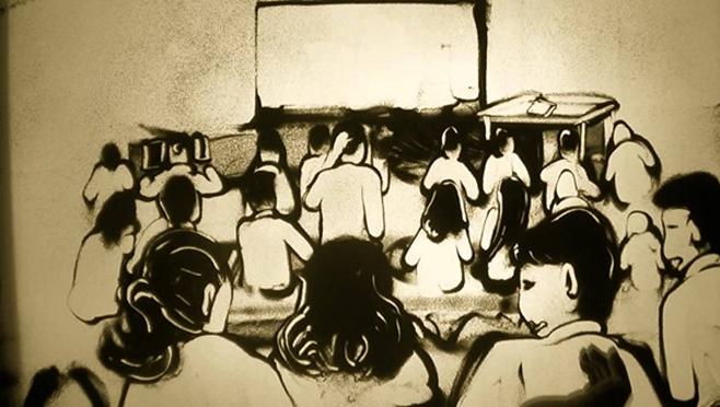 Bức tranh cát tuyệt đỉnh mô tả lại một lớp học tri ân tình cảm thầy trò