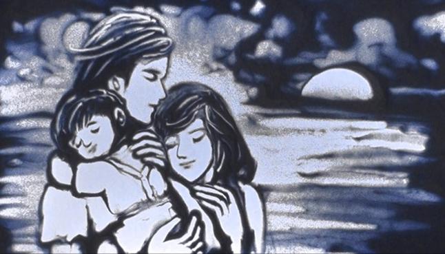 Bức tranh cát tình yêu gia đình đầy sinh động