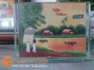 Tranh phong cảnh làng quê Việt Nam bằng CÁT
