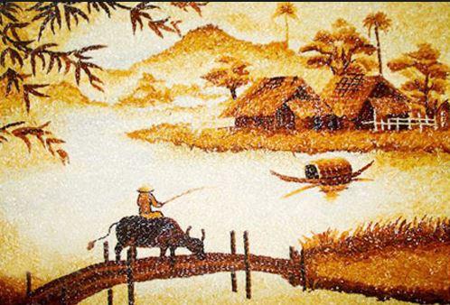 Tranh gạo nghệ thuật phong cảnh làng quê Việt Nam