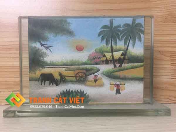 Tranh cát phong cảnh – chữ nhật trung 05 mặt trước