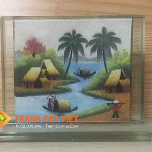 Tranh cát phong cảnh – chữ nhật mini 017
