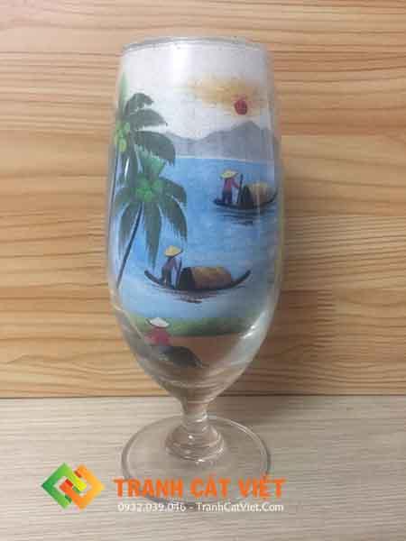 Tranh cát ly thủy tinh 002 mặt trươc
